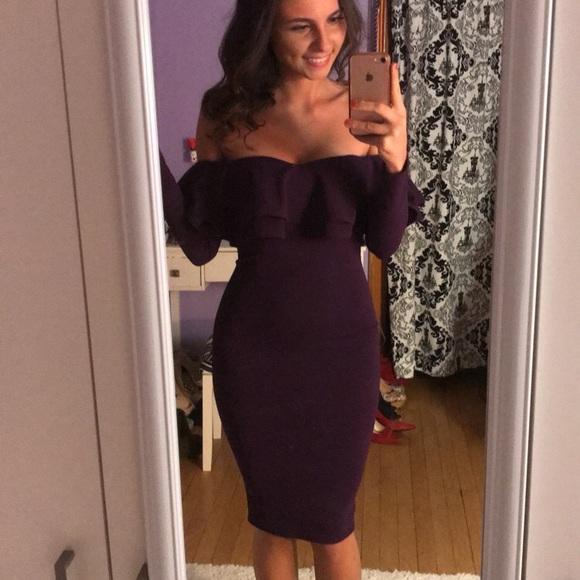 67db5aec99c0 Off Shoulder Purple Peplum Long Sleeve Midi Dress.  M 5aa0095905f430be3c758730